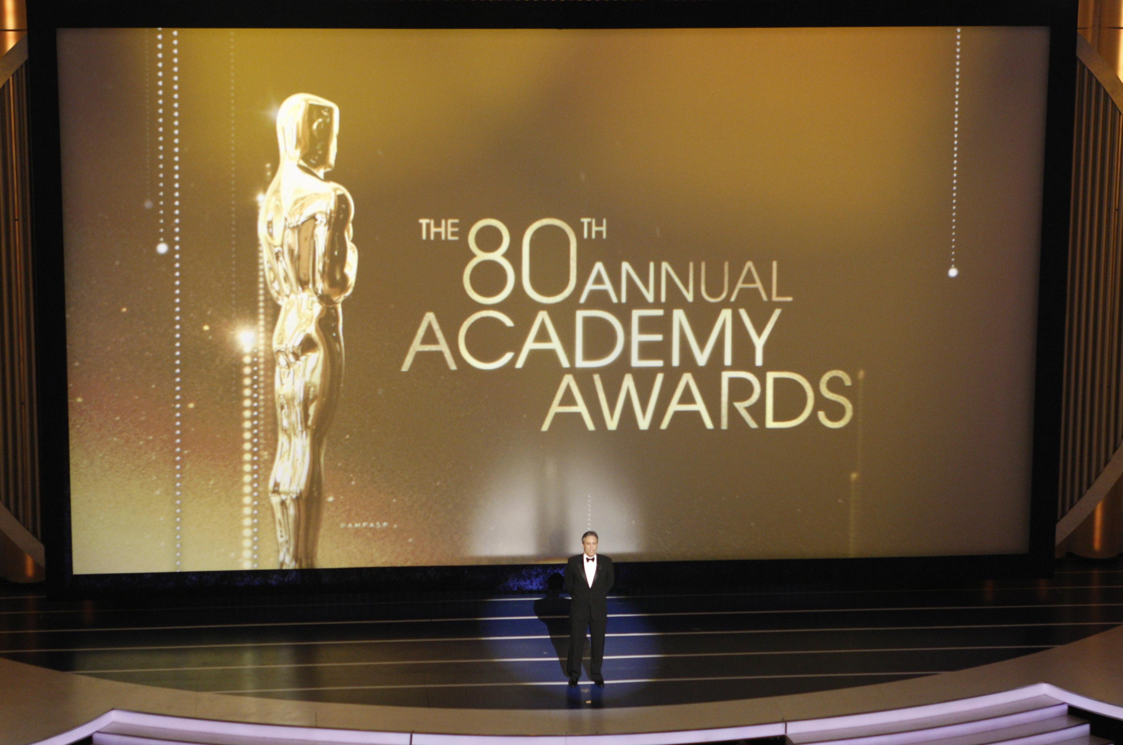 Host Jon Stewart delivers a monologue during of the 80th annual Academy Awards in Hollywood